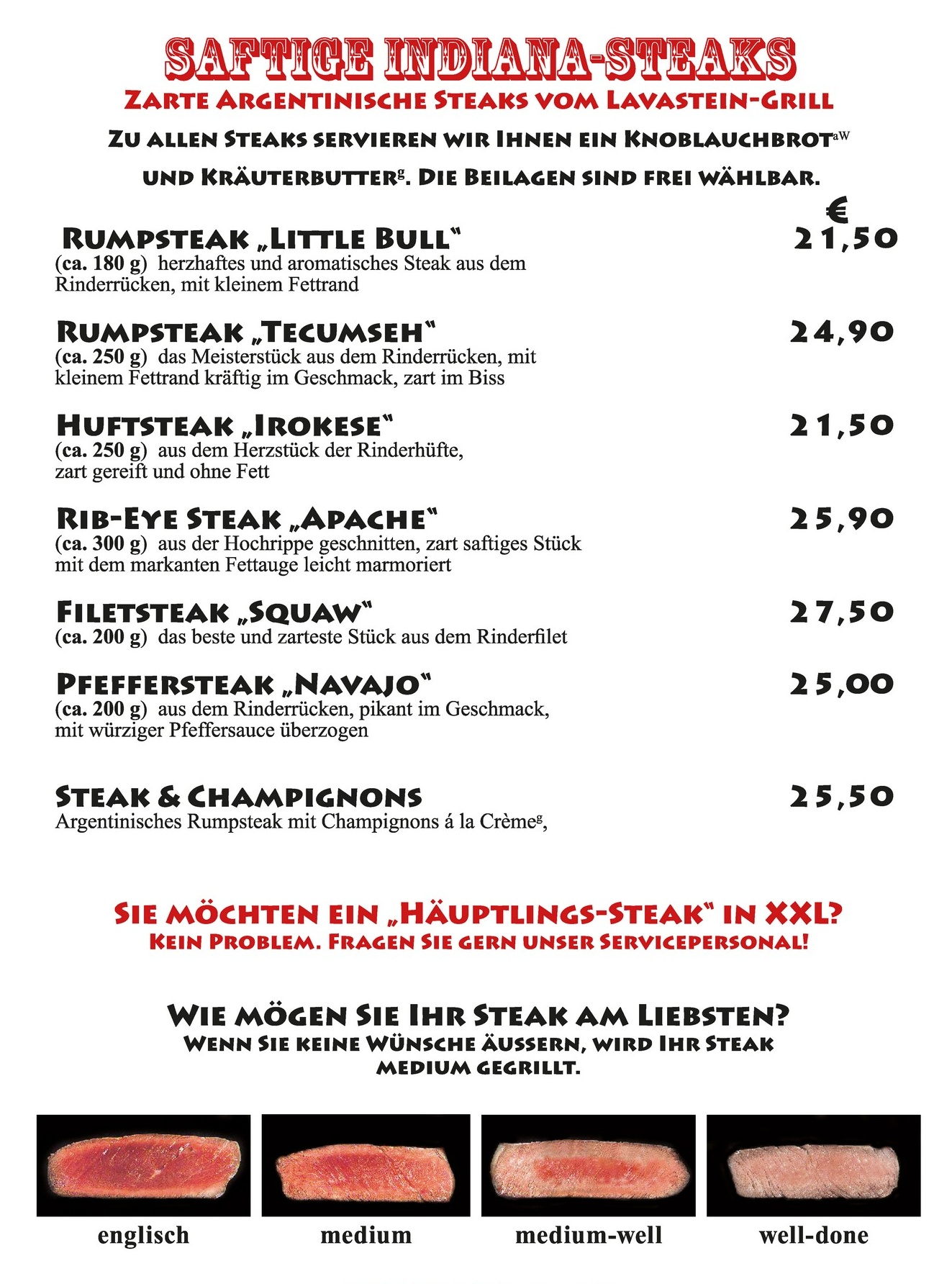 Steaks Speisekarte Indiana Restaurant